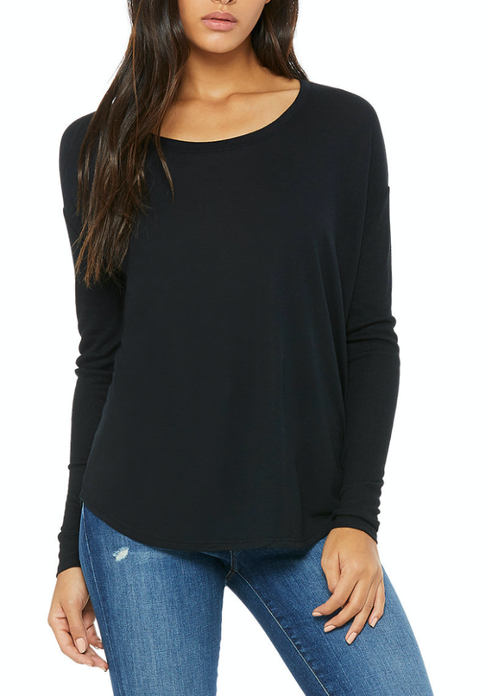 Ribbed Long Sleeve Wide Neck Tee