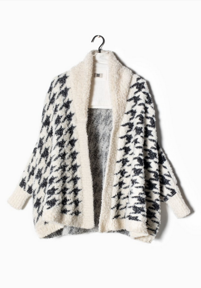 Houndstooth Teddy Cardigan
