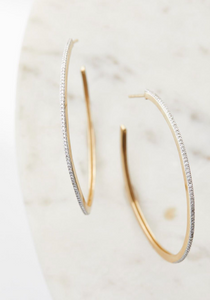 "Pave Diamond 1-3/8"" Hoop Earrings"
