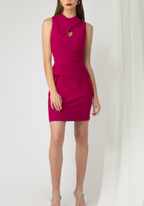 Sleeveless Cross Pleat Cocktail Dress