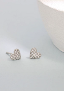 Pave Diamond Mini Heart Earrings