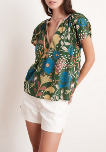 V-Neck Floral Print Cotton Blouse