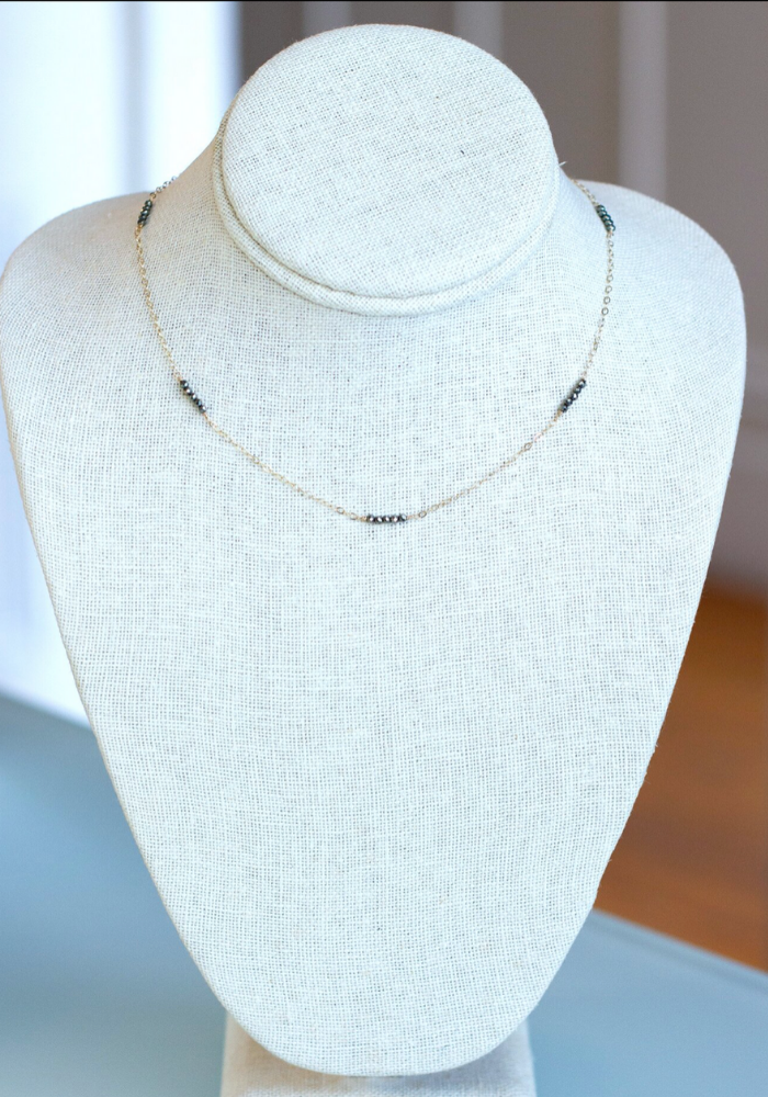 Floating Beaded Bar Necklace