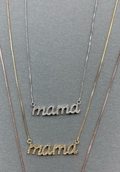 Pave Diamond Mama Necklace