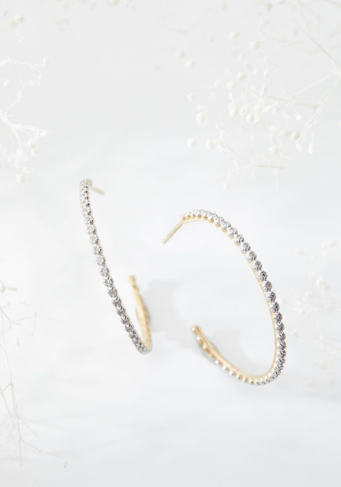 "Pave Diamond 1.25"" Hoop Earrings"