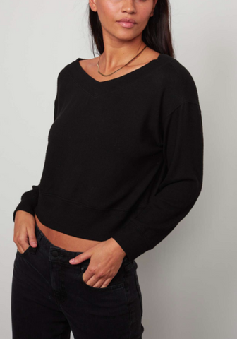 Cozy Lux Long Sleeve V-Neck Blouse