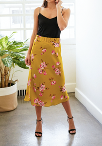 Printed Satin Skirt