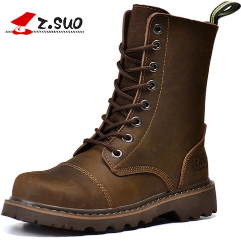 ZSuo Motorcycle female Boots Canister shoes Restoring Ancient Racing Brown moto boots Locomotive boot Riding botas motobotinki - Eatan
