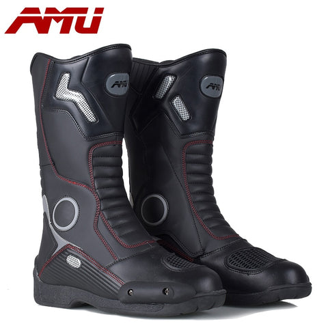 AMU Motorcycle Leather boots Moto Sports Protection motorboats boats Motocross Dirt biker WaterProof Leather Boots biker boot - Eatan