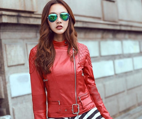 Red Genuine Leather women slim fur jackets.Cool motorbiker plus size female sheep skin jacket Brand dhl - Eatan