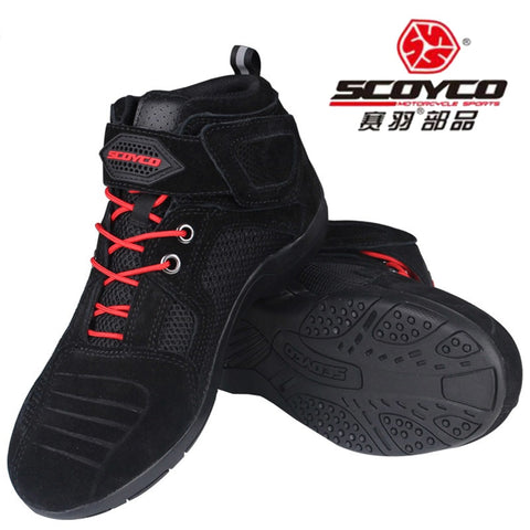 2018 Spring Summer New Motocross Leather SCOYCO Motorcycle Riding Boots Knight boot Breathable ventilate Mesh motorbike shoes Reflective - Eatan