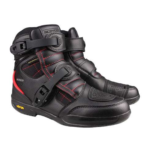 SCOYCO Motorcycle Waterproof Boots Moto Protection Shoes Men Microfiber Leather Motocross Off-Road Racing Motorbike Riding Boots - Eatan