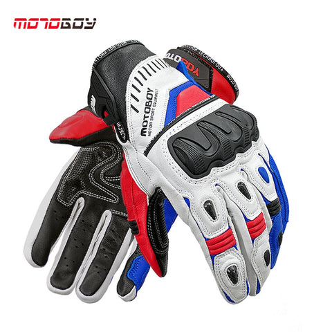 1pair Winter Men's Touch Screen Carbon Fiber Leather Sheepskin Gloves Motocorss Racing Full Finger Glove Motorcycle Gloves - Eatan