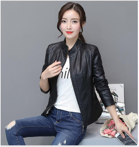 2018 Spring women stand collar leather jacket short coat femal motorbike leather coat slim design black women's outerwear S-XXL - Eatan