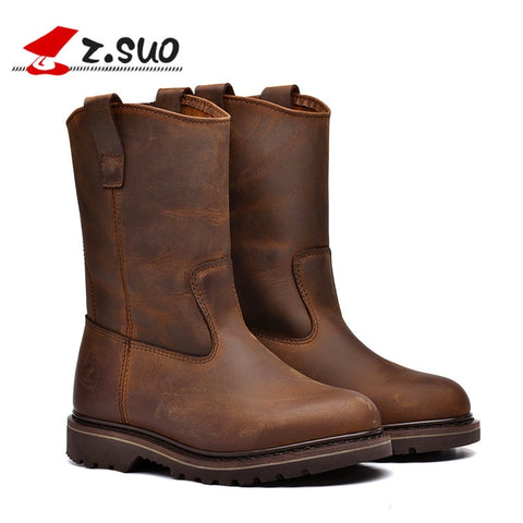 Z.Suo fashion men women motorcycle Leather boots high-quality in-tube retro western boots Motocross Motorbike Riding Boots - Eatan