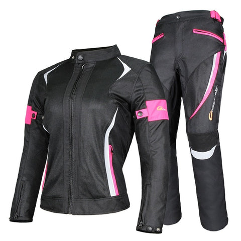 Riding Tribe Women's Motorcycle Jacket Protective Gear Jacket & Moto Pants Suit Jacket Waterproof Touring Motorbike Clothing Set - Eatan