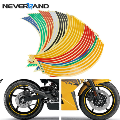 "18"" Motorcycle Decor Tire Rim Wheel Sticker Reflective Bike Car Styling Motorbike Auto Decals For Yamaha Suzuki Honda - Eatan"