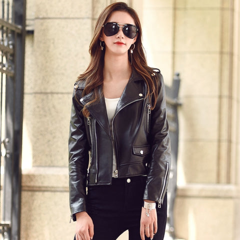 Free shipping,Genuine leather woman slim jackets.fashion motorbiker Asian size female sheepskin jacket,plus size leather coat - Eatan