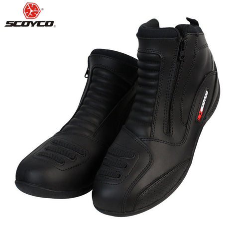SCOYCO Leather Motorboats Moto Motorbike Biker Motorcycle Boots Boot Motorcycle Shoes Men Waterproof Botas Riding Motorcyclist Boots - Eatan