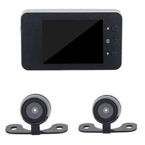 Motorcycle DVR Dash Cam Full HD 1080P + 720P Dual-track Front & Rear View Motorcycle Camera Black Recorder Box - Eatan