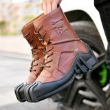 Motorcycle boots Genuine Cow Leather Motorcycle Racing Boots Street Moto Chopper Cruiser Touring Motorbike Riding Mid-Calf Shoes - Eatan