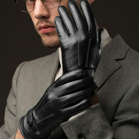 Fashion Men Winter Leather Motorcycle Full Finger Touch Screen Warm Gloves - Eatan