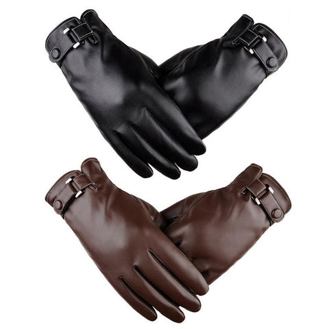 Wholesale Leather Touch Screen Gloves For Men Thickening And Warming Gloves For Winter Outdoor Sports Motorcycle Accessories - Eatan