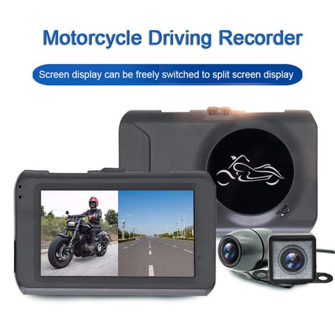 Motorcycle Black Box DVR Dash Cam Remote Control Wide Angle 3 Inches Split Screen 1080P Waterproof Dual Lens Recorder - Eatan