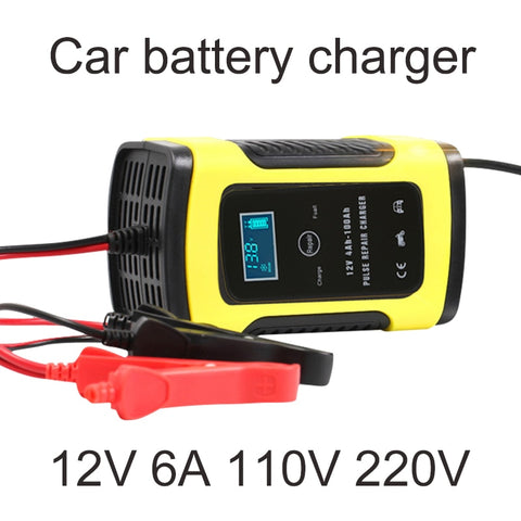 12v 6A Motorcycle Battery Charger Car 110V-220V Automatic Intelligent Pulse Repair For Wet Dry Lead Acid Digital LCD Display - Eatan