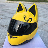 Motorcycle helmet in the summer seasons men and women anti-fog helmet's cross-country car fashion cat ears helmet - Eatan