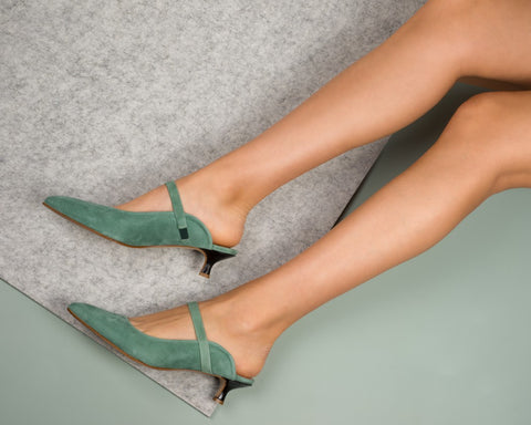 Sage green mules slides green suede kitten heels Ladies Italian shoes