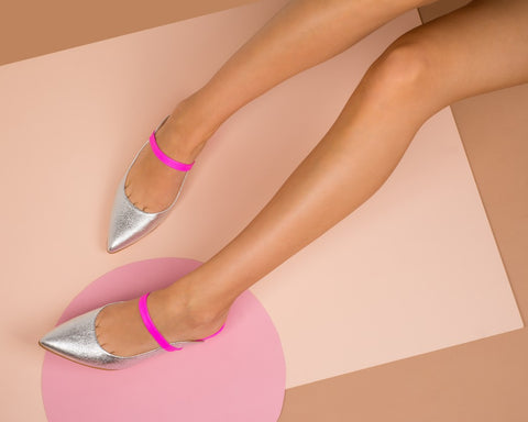 Hot pink and Silver mules Kitten heels Italian Made leather shoes
