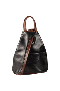 italian leather black brown medium backpack day bag front