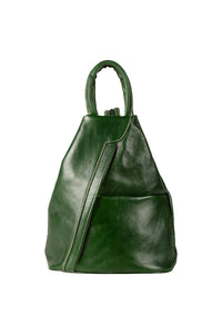 Italian leather bottle green medium backpack day bag front