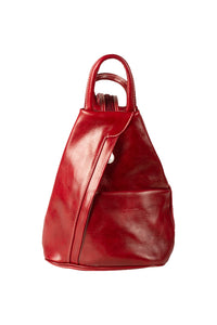 italian red leather medium backpack day bag front