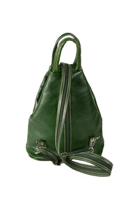 Italian leather bottle green medium backpack day bag back view