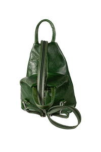 Italian leather bottle green medium backpack day bag top view