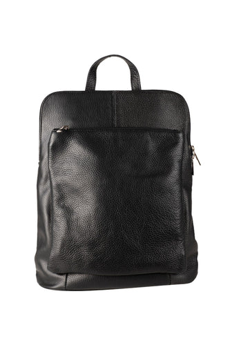 Italian leather laptop backpack black front view