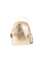 mini metallic gold Italian leather backpack