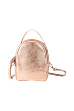 mini metallic rose gold Italian leather backpack