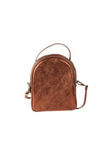 mini metallic bronze Italian leather backpack