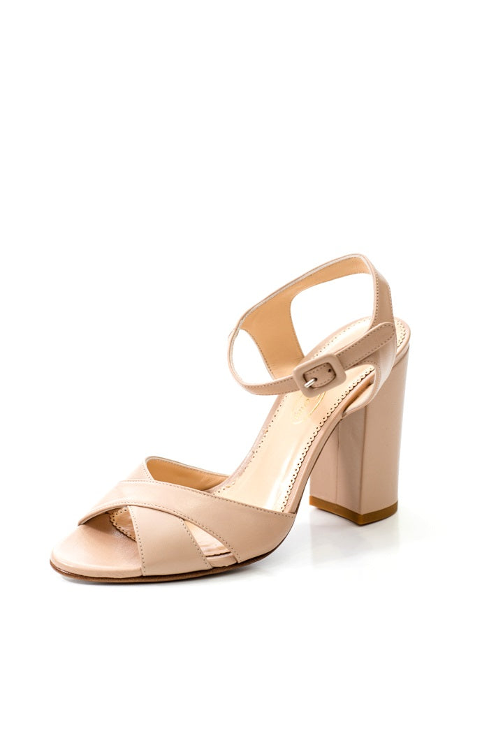 nude beige block heel italian leather high heels