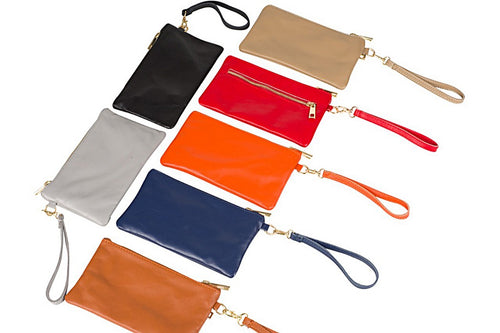 small italian leather rectangular zip pouch with wrist loop black grey tan navy orange red beige