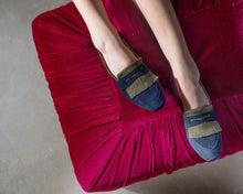 navy and green Italian suede penny loafer with fringe detail on model