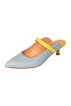 Italian leather mule in sky blue and lemon two tone with kitten heel