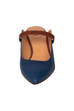 Italian leather mule in navy and chocolate two tone with kitten heel