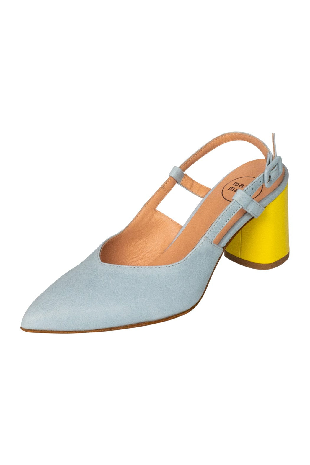 Italian leather sky blue and lemon sling back block high heel