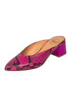 Italian leather  hot pink snakeskin mule with low block heel in metallic hot pink