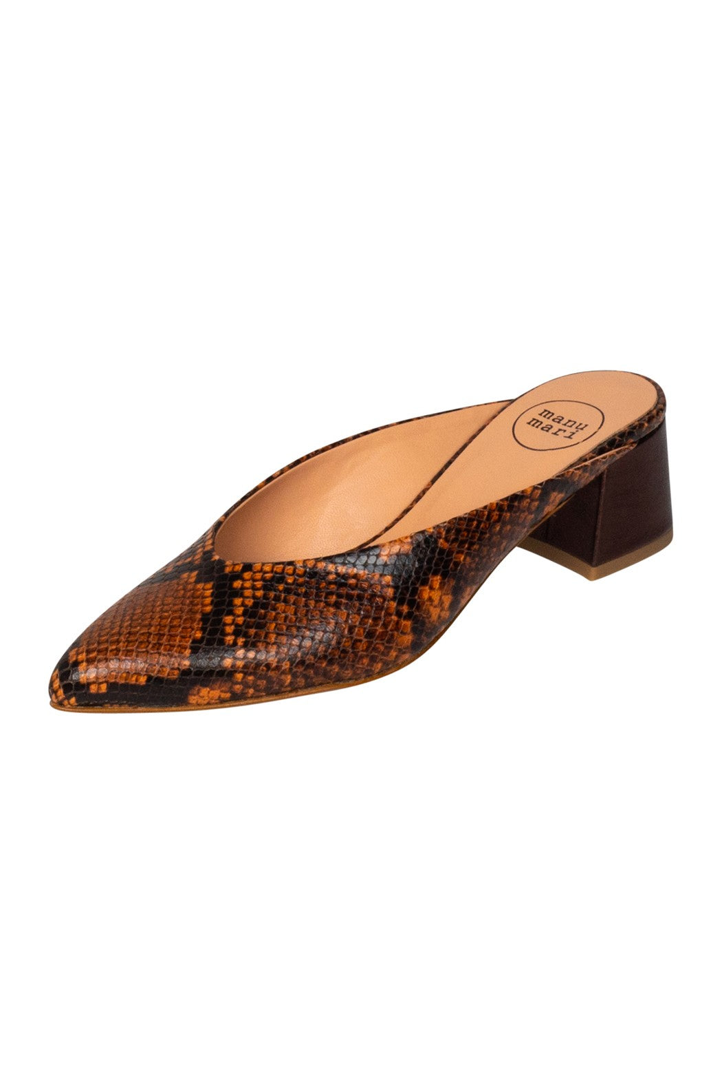Italian leather brown snakeskin mule with low block heel in metallic brown