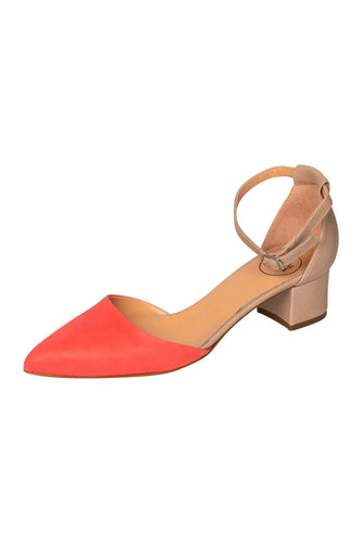 Italian leather beige and coral low block heel open sided pump with mary-jane strap